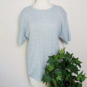 Alfred Dunner Blue Short Sleeve Cable Knit Sweater